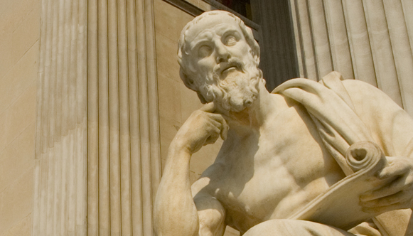 Statue of Greek philosopher in marble
