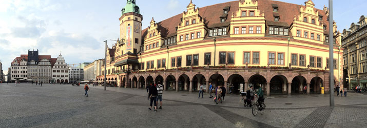 The Marktplatz is at the heart of Leipzig, Germany.