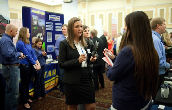 Students participating in the Ohio University Career Fair, held in Baker University Center