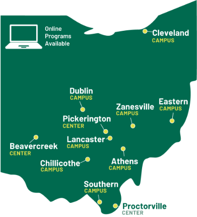 Graphic illustration of the state of Ohio and all Ohio University campuses and centers