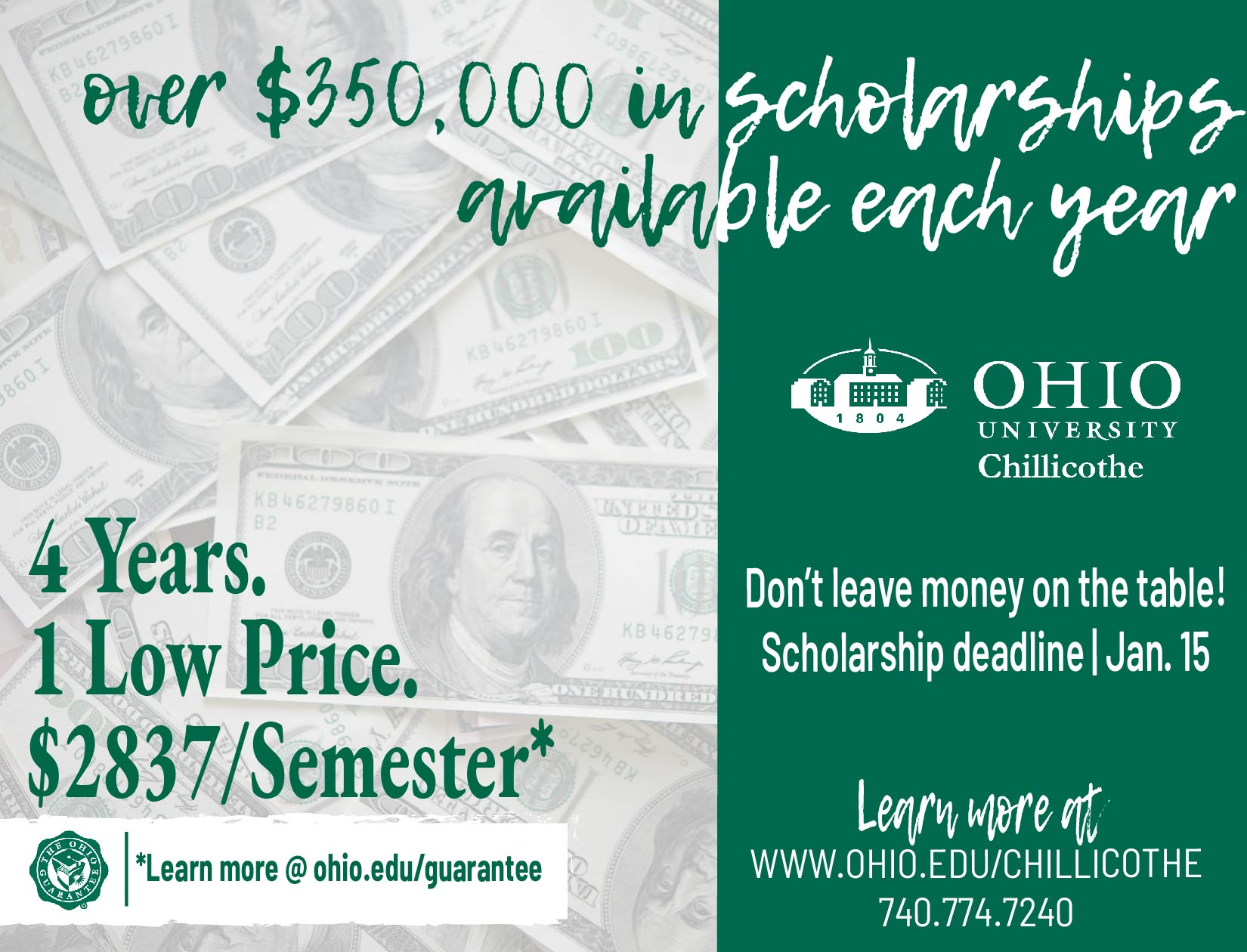 Over $350,000 in scholarships available graphic