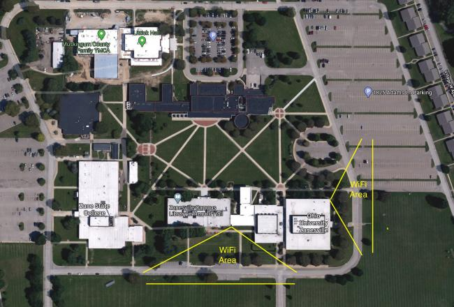 Zanesville campus wifi access map